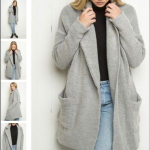 Brandy Melville Thick Heather Gray Wool Coat